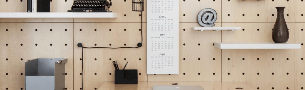 commercial interior design slider with vase calendar and typewriter